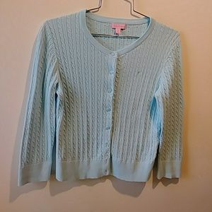 Lilly Pulitzer Light Blue Cable Knit Cardigan